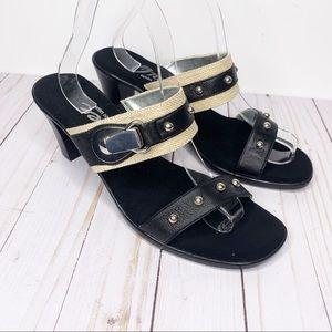 ONEX Black & Silver Penelope Slide Sandals Size 11